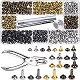 Remaches de cuero 360 Sets 4 Colores 3 Tamaños Perno de Metal Tubular de Doble Tapa con Herramientas de Perforación para Decoración y Reparaciones Artesanales de Cuero