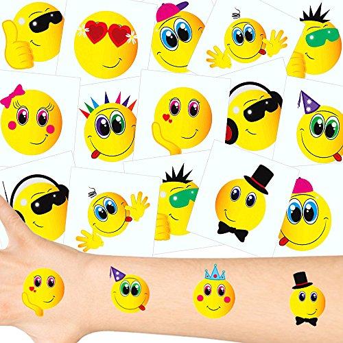 German Trendseller® - Smile Tattoos Set ┃ NEU ┃ Smile Party ┃ Kindergeburtstag ┃ Mitgebsel ┃36 Tattoos