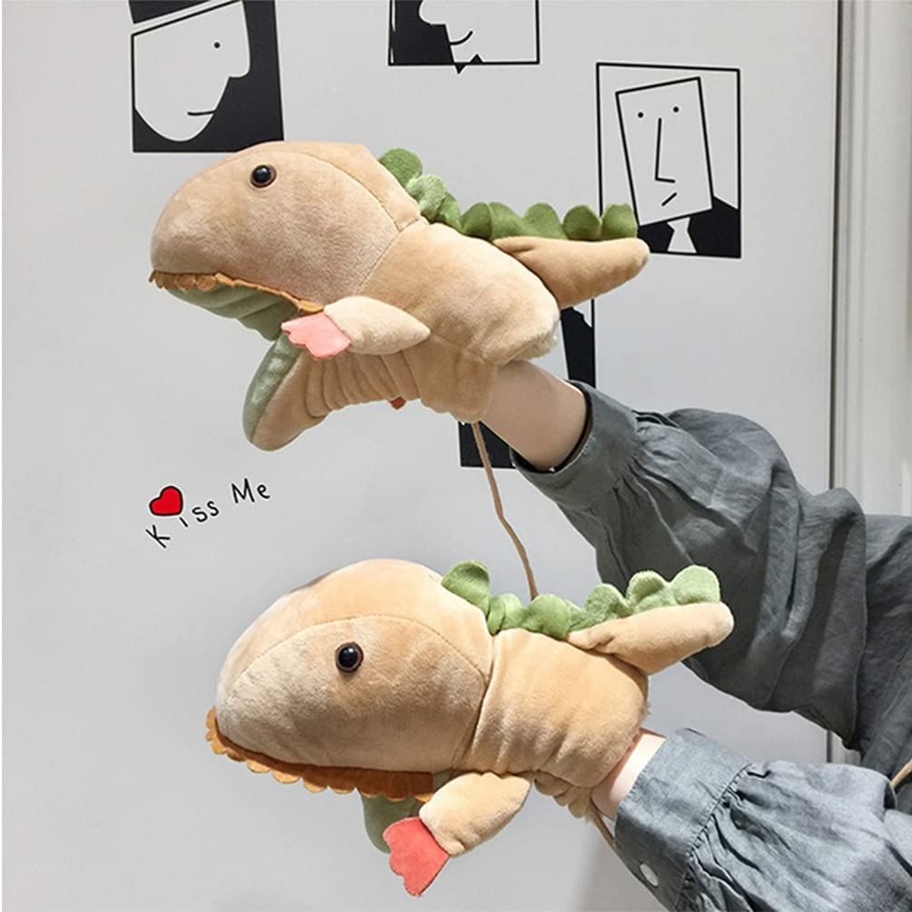 BESPORTBLE 1 Pair Warm Gloves Lovely Cartoon Dinosaur Molding Gloves Plush Gloves with String for Kids Girls Winter (Brown)