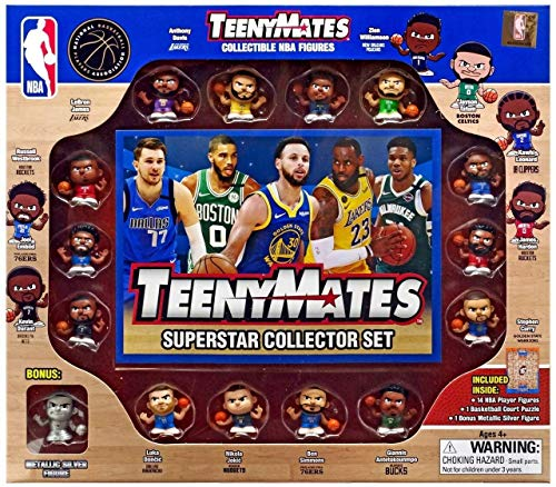Party Animal TeenyMates NBA Superstar Gift Set - 15 Piece Collectible Mini Sports Action Figures, Team Color, 1 inch (TMSNB6)