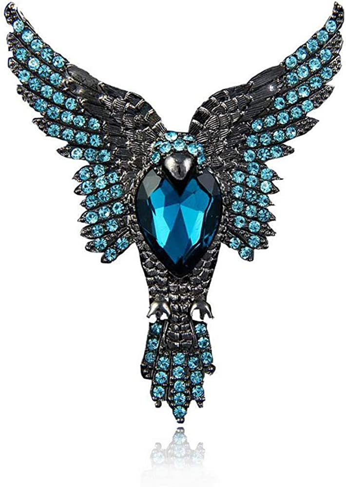 Earofcorn Free shipping New Art Nouveau Gorgeous Blue Eagle Color OFFer Rhinesto Crystal
