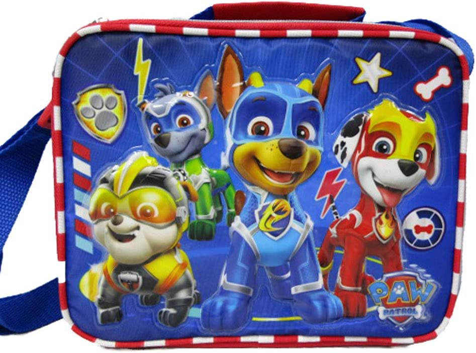 Paw Patrol - Mighty Pups Insulated Lunch Bag with Adjustable Shoulder Straps - Super Hero Puppies - A17307 (Blue and red)