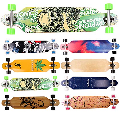 FunTomia Longboard Skateboard Drop Through Cruiser Komplettboard mit Mach1 High Speed Kugellager T-Tool