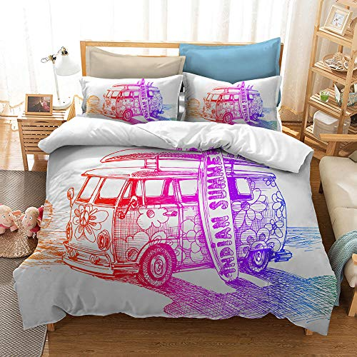 MOUPSDT 3D Printed Duvet Cover Blue red flower peace car Super King size Bedding Set Super Soft Microfiber 3 pcs 1 Duvet Cover 86.7 inch x 103 inch with 2 Pillow covers 50x75cm