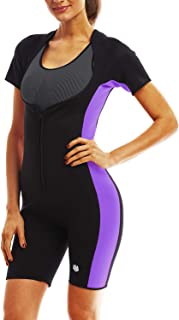 FitsT4 Women's Full Body Sauna Suit with Sleeves Waist Trainer Neoprene Body Sweat Suits for Sport Workout Weight Loss