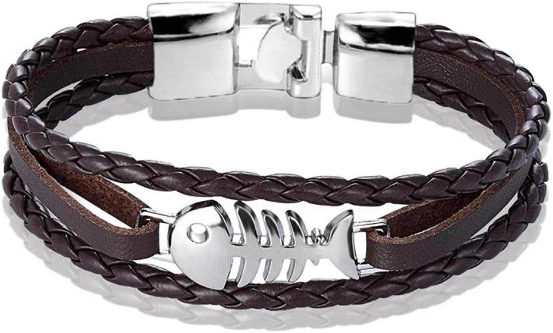 Bracelet Men,Fashion Jewelry Alloy Fish Bone Leather Brown Silver Bracelet Men Casual Personality Women Bracelet MultiLayer Bracelet