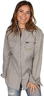 Wrangler Women's Long Sleeve Snap Front Denim Western Shirt Blouse