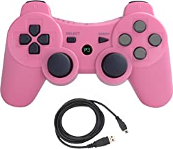 Molgegk Wireless Bluetooth Controller for PS3 Double Shock - Bundled USB Charge Cord (Pink)
