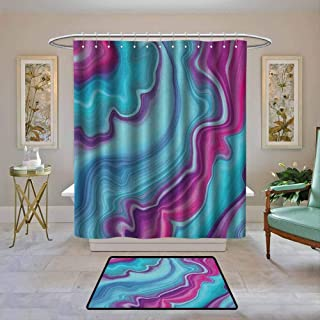 Kenneth Camilla01 Waterproof Shower Curtain Marble,Abstract Color Formation Wavy Aqua Pink Lines Agate Slab Mineral Layers Geographic, Aqua Pink,Bathroom Curtains for Shower with Hooks Set 72