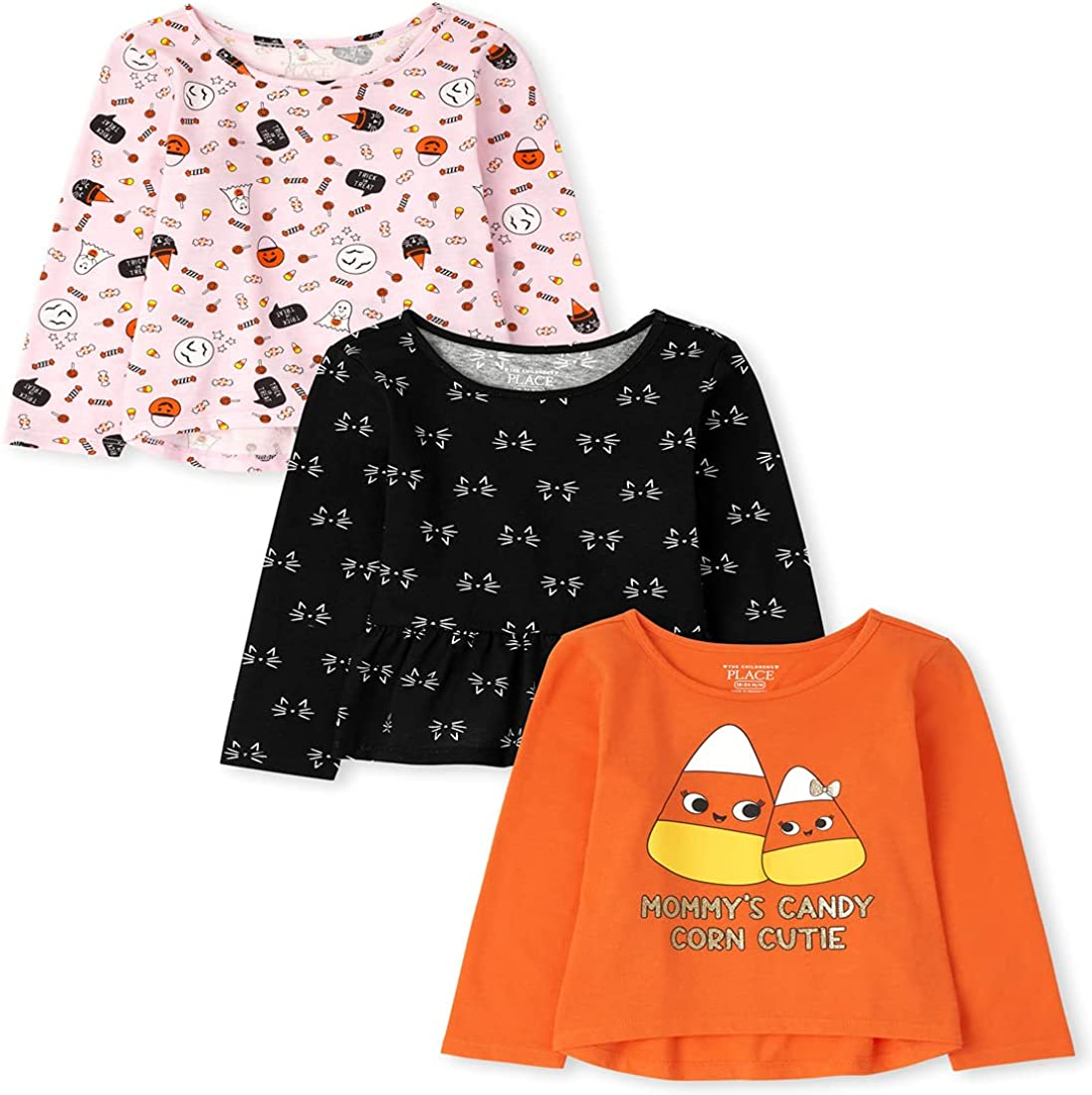 The Children's Place Baby Toddler Girl Long Sleeve Halloween Tops 3-Pack