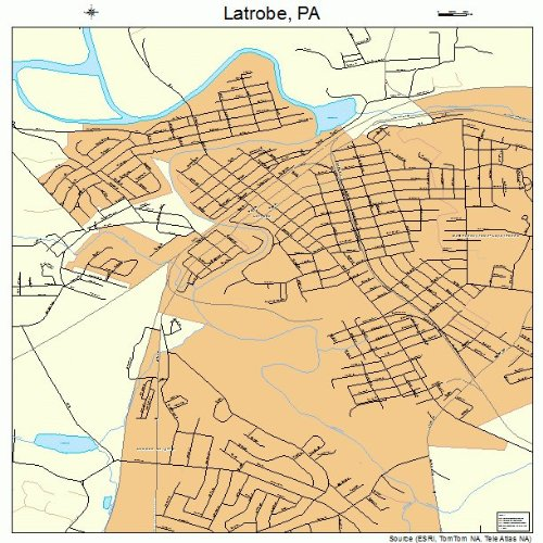 Large Street & Road Map of Latrobe, Pennsylvania PA - Printed Poster Size Wall Atlas of Your Home Town