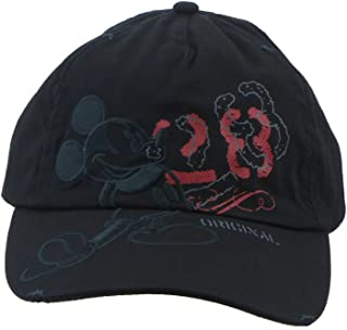 Disney Adult Mickey Mouse Black Tonal Distressed Cap with Adjustable Strap