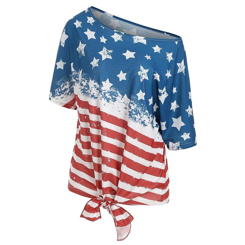 Duseedik Women's Casual T-Shirt One Shoulder Blouse Stripe America Flag Printed V-Neck Short Sleeve Knot Tee