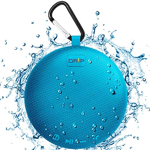 Driptronics Waterproof Portable Bluetooth Shower Speaker with Microphone Clear Crisp Sound, Shockproof, Indoor/Outdoor Use (Blue)