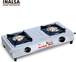 Inalsa Excel Stainless Steel 2 Burner Gas Stove (Silver/Black)
