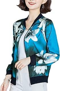 Womens Lightweight Classic Floral Print Zipper Bomber Jacket Coats