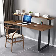 Solid Wood Computer Desk, Desk and Bookshelf Combination Office Desk Writing Table Double Study Table with Bookshelf Home ...