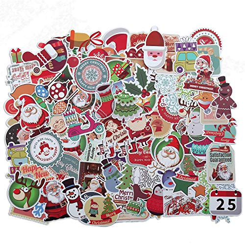 Christmas Decorations 100 Pcs Christmas Stickers Santa Snowflake Stickers for Kids , Merry Christmas Decorations Stickers for Envelopes Gifts Tags Crafts Windows Snowboard