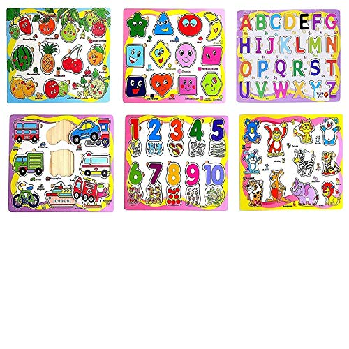 divine man Wooden Educational Colorful Fruits, Numbers, Geometric Shapes, Animals,Vehicles, Alphabet Set of 6 Puzzle Board Toy for Kids.(Baby,Boys&Girls)