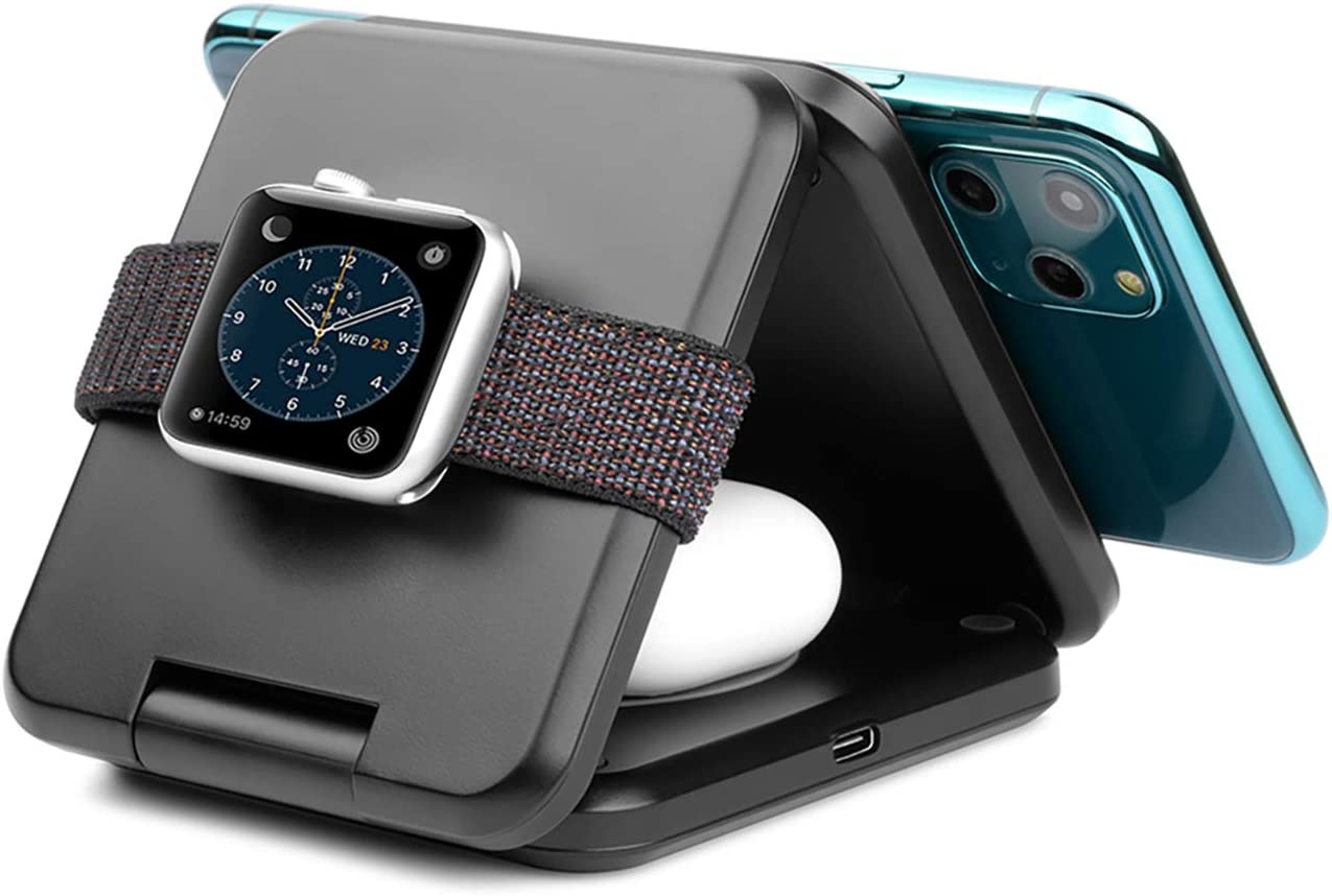 iPhone Wireless Charger. ZIKU 3 in 1 Foldable Fast Wireless Charging Station Stand Pad for Apple Watch6 5 4 3 2, AirPods, Compatible with iPhone12/ /11 Pro Max/X/XS/XR/8Plus(Include Adapter)