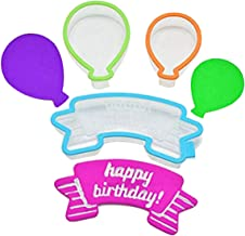 3 PCS Cookie Cutter Set, Plastic Happy Birthday Balloon Cake Cutter Mold Set Decorative Fondant Mould