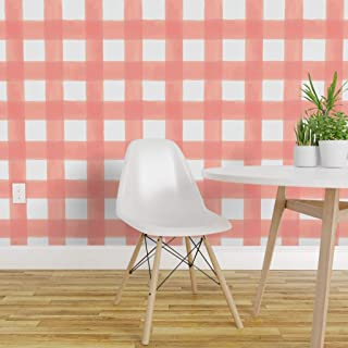 Spoonflower Peel and Stick Removable Wallpaper, Pink Gingham Girls Large Scale Watercolor Peach Baby Girl Print, Self-Adhesive Wallpaper 24in x 36in Roll