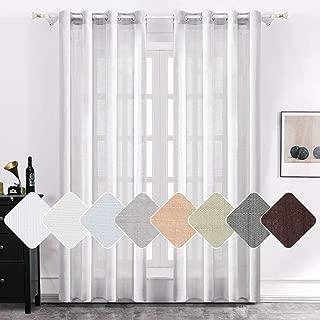 MIULEE 2 Panels Natural Linen Semi Sheer Window Curtains Elegant Solid Light Grey Drapes Grommet Top Window Voile Panels Linen Textured Panels for Bedroom Living Room (52X63 Inch)
