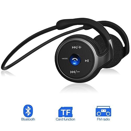 Casque Bluetooth Sport, 3 en 1 Écouteurs Sans Fil Stéréo HIFI Micro Supporte Radio FM, Carte TF (jusqu'à 32Go) et Bluetooth 4.1, Pliable, Stable 38g, Facile à Porter pour IOS et Android