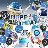 Pushingbest Decoraciones Cumpleaños, Decoraciones de Fiesta temáticas del Espacio Exterior, Globos espaciales de Astronautas con 4D Globos, Happy Birthday Pancarta Colgar Remolino