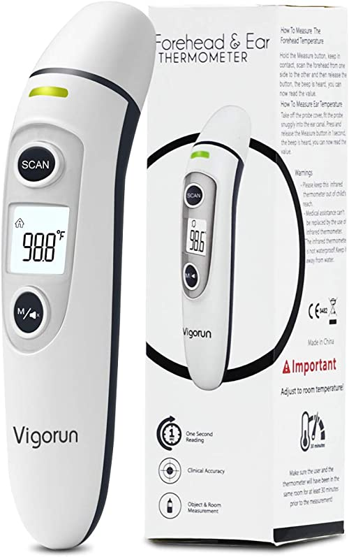 【New Version】Vigorun Medical Forehead and Ear Thermometer, Digital Infrared Temporal Thermometer for Fever, Instant Accurate Reading for Baby Kids and Adults