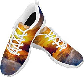 Zenzzle Women's Running Sneakers Beautiful Sunset Over Lake Pattern Casual Lightweight Athletic Sneakers