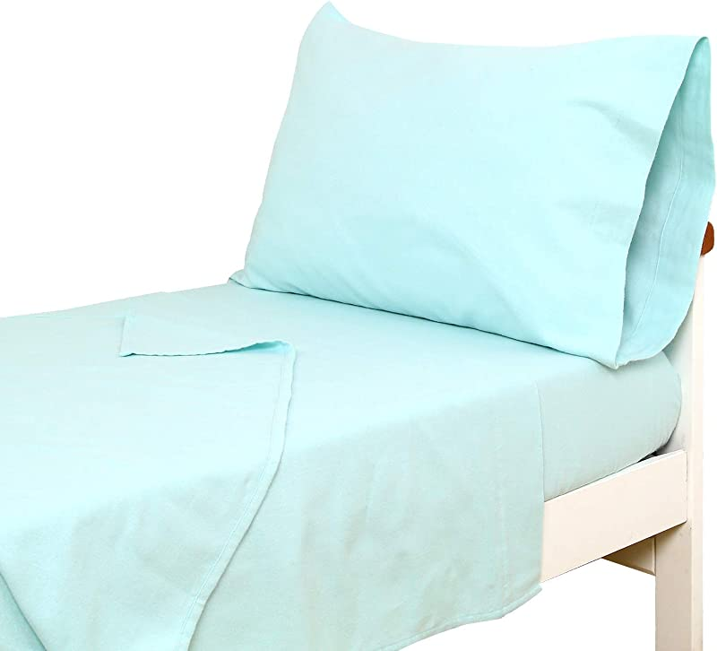 TILLYOU 3 Piece Cotton Flannel Toddler Sheet Set Fitted Sheet Top Flat Sheet And Envelope Pillowcase Warm Soft Plush Crib Sheets Set Toddler Bed Set Baby Sheet Pillowcase Sets Aqua
