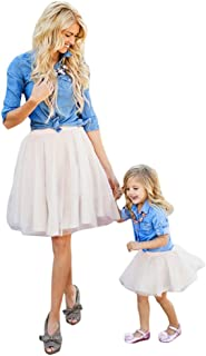 Mommy and Me Women Demin T Shirt Tops+Skirt Dress Family Clothes Outfits Set