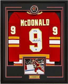Lanny McDonald Calgary Flames Autographed Retro 35x43 Framed Hockey Jersey