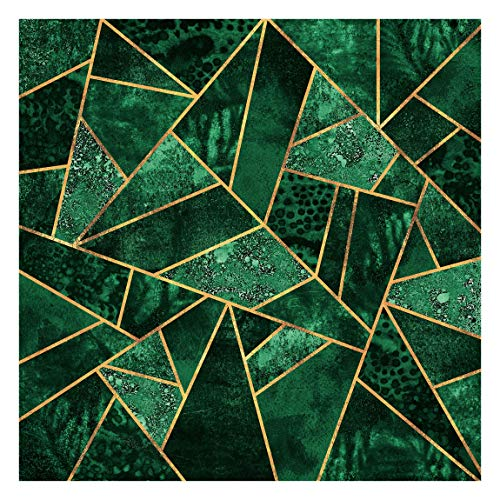 Bilderwelten Fototapete Motiv - Dunkler Smaragd mit Gold - Vliestapete Quadrat 288 x 288cm