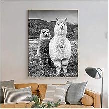 Zhaoyangeng Alpaca-posters en prints in Scandinavische stijl op canvas, dieren, zwart-wit, muurkunst, voor woondecoratie, ...