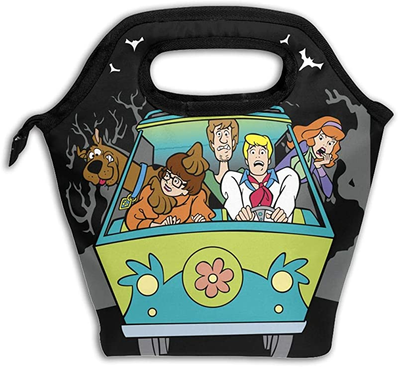 Scooby Doo Reusable Insulated Lunch Bag Carry Case Handbags Tote With Zipper For Adults Kids