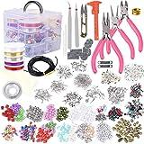 AOFOX Kit per la creazione di Gioielli con Perline assortite, ciondoli, Accessori, Filo di Perline e Cordoncino, pinze, Pinza e Custodia per Collana, Bracciale, Orecchini