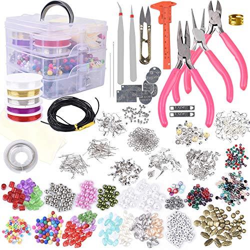 Kit para hacer joyas, con una variedad de abalorios, dijes, fornituras, alambre y cordón, alicates, calibre para hacer collares, pulseras