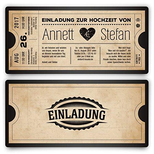 Einladungskarten zur Hochzeit (80 Stück) als Eintrittskarte Vintage Herz Retro Einladung Karte in Schwarz