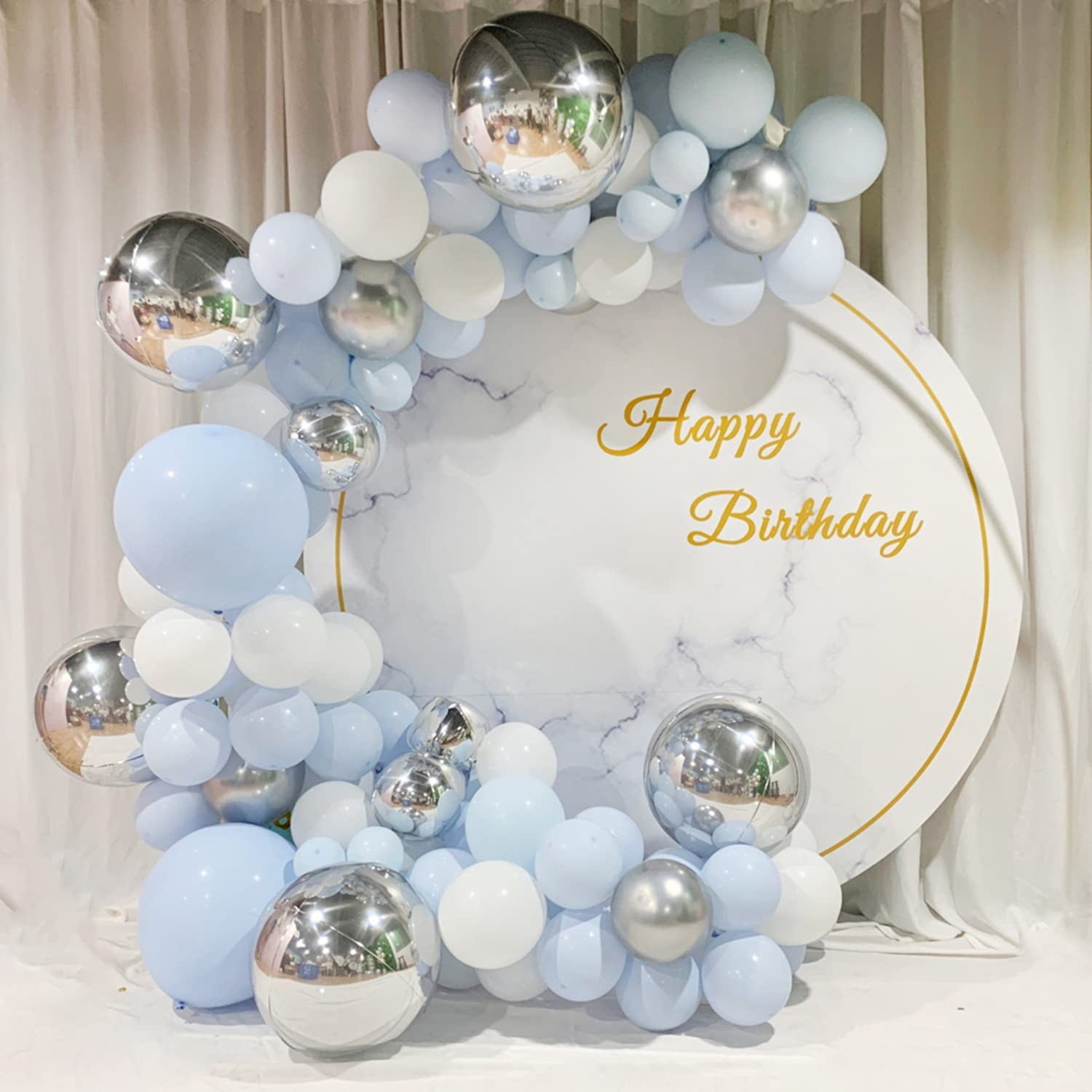 139PCS Blue Balloons Garland Arch with Don't miss 2021 autumn and winter new the campaign Metallic Macar Kit Silver