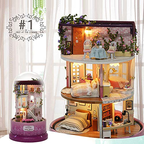 Amyove DIY Spieluhr Musik Puppenhaus rotierende Kabine DIY Puppenhaus mit transparenter Abdeckung Spieluhr für Kinder B-028