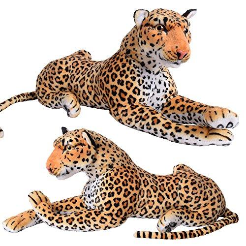 TE-Trend 17878 XXL Plüschleopard Kuscheltier Design Plüschtier Plüsch Leopard Stofftier Großformat Liegend 80 cm Mehrfarbig