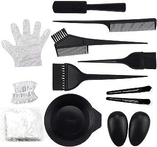 11 Pcs Hair Dye Coloring Kit - Hair Dye Bowl,Hair Color Brush,Ear Cover,Hair Coloring Cape,Gloves,DIY Beauty Salon Tool Kit
