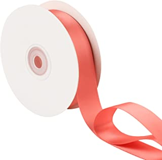 LaRibbons 1 inch Wide Double Face Satin Ribbon - 25 Yard (238-Lt. Coral)