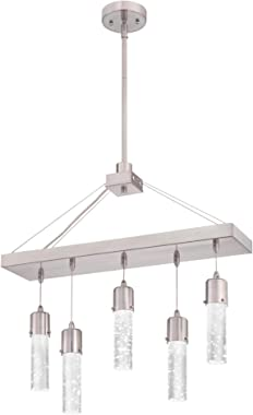 Westinghouse Lighting 6371900 Cava Five-Light LED Indoor Chandelier, Brushed Nickel Finish with Bubble Glass