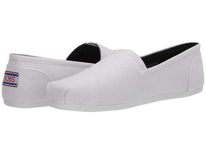 BOBS from SKECHERS  Bobs Plush - Peace Love (White/Red/Navy) Womens Flat Shoes