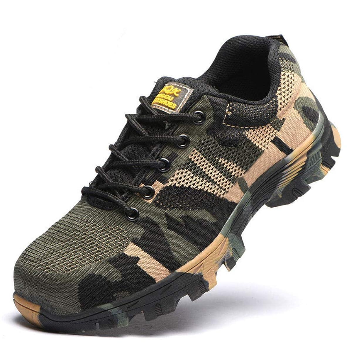 ダーリン友だち実験室安全作業靴、鋼つま先キャップ抗パンク防止ツーリング靴、滑り止め摩耗迷彩ハイキングシューズ、建設現場に適し、溶接ZDDAB