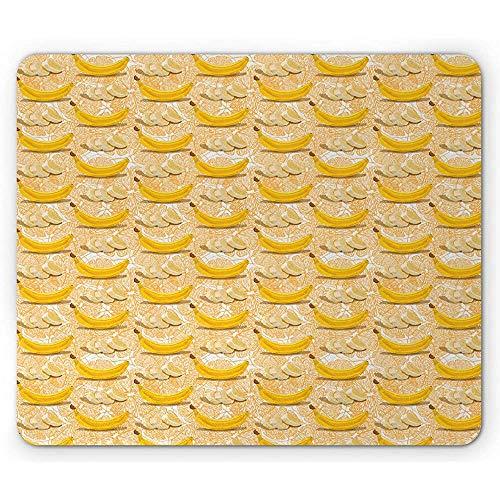Vruchten muismat, volledige en gesneden stukjes bananen met oranje schets achtergrond en gezonde, mosterd perzik Ecru