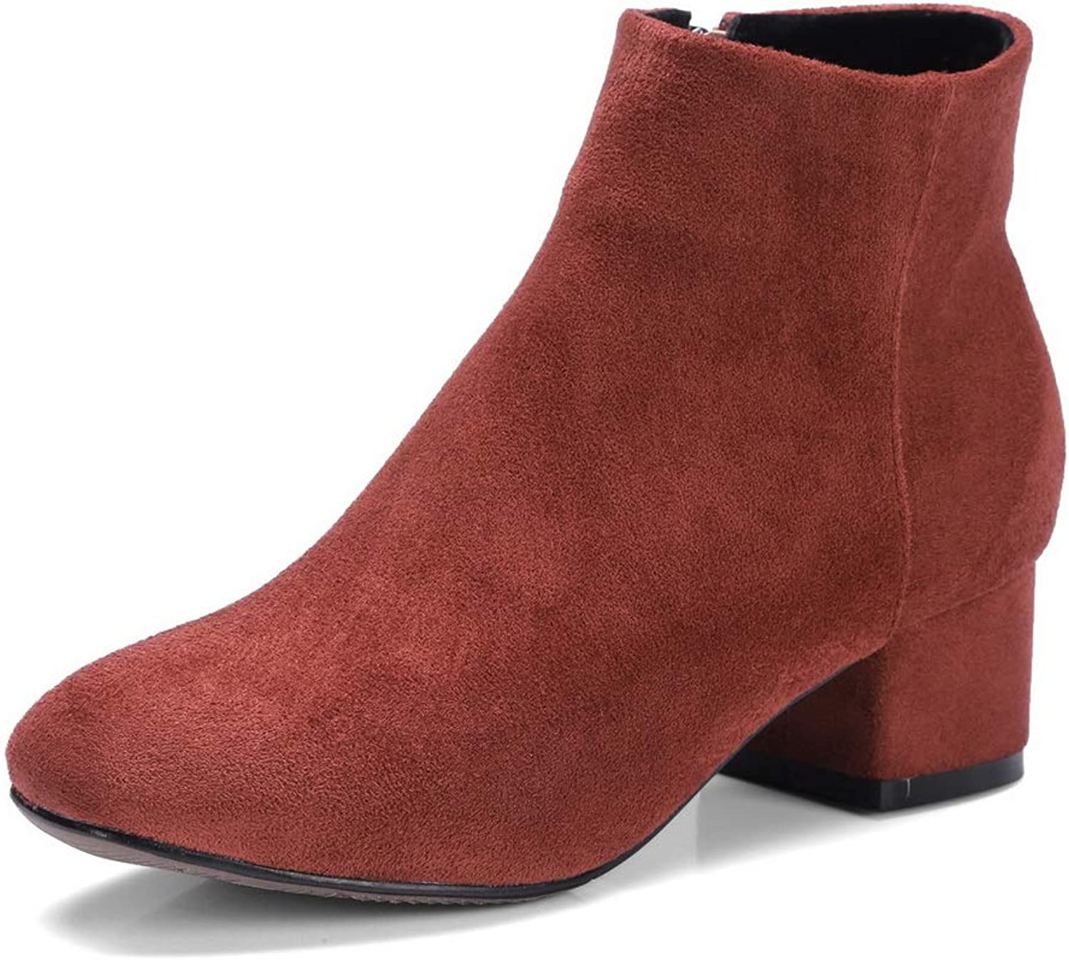 1TO9 Womens Chunky Heels Zipper Imitated Suede Boots MNS03370